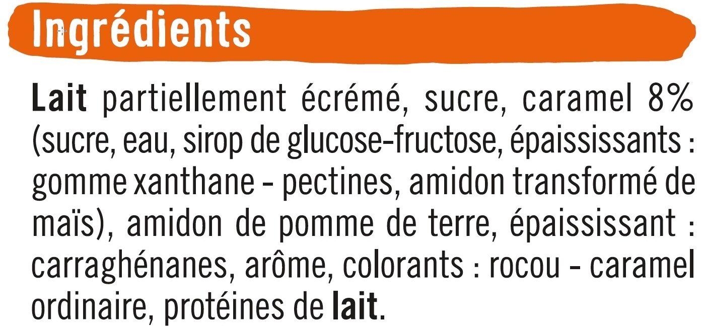 Dessert lacté flan goût vanille nappé caramel - Ingrédients - fr