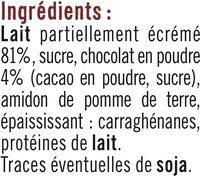 Dessert lacté gélifié au chocolat - Ingrédients - fr