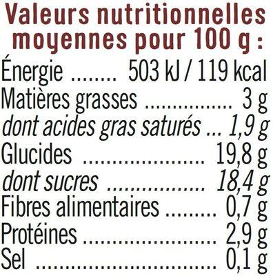 Dessert lacté gélifié au chocolat - Informations nutritionnelles - fr