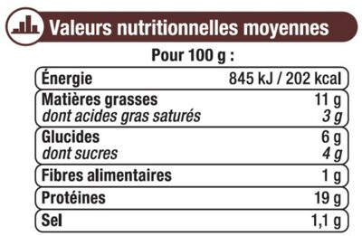 Grignotte de poulet rôtie barbecue - Informations nutritionnelles - fr
