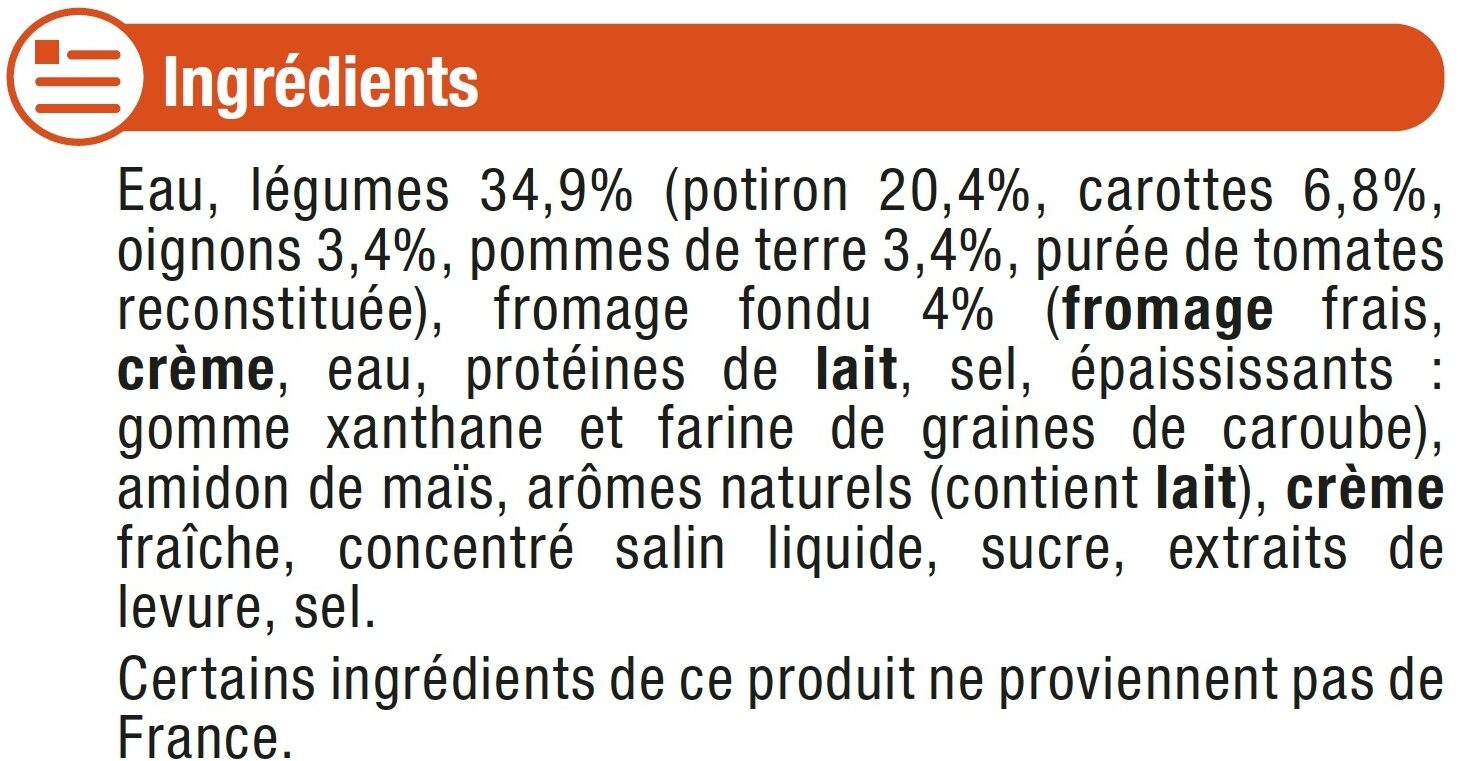 P'tit velouté potiron au fromage blanc - Ingrédients - fr