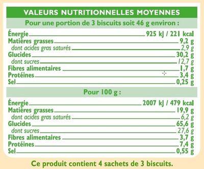 Goûters fourrés aux fruits rouges - Nutrition facts