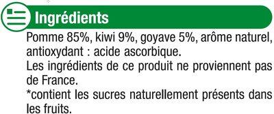 Gourdes pomme kiwi goyave sans sucre ajouté - Ingrédients