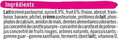 Fromage frais au lait pasteurisé sucré aux fruits  2% deMG - Ingrédients