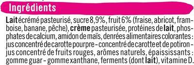 Fromage frais au lait pasteurisé sucré aux fruits 2% deMG - Ingrédients - fr