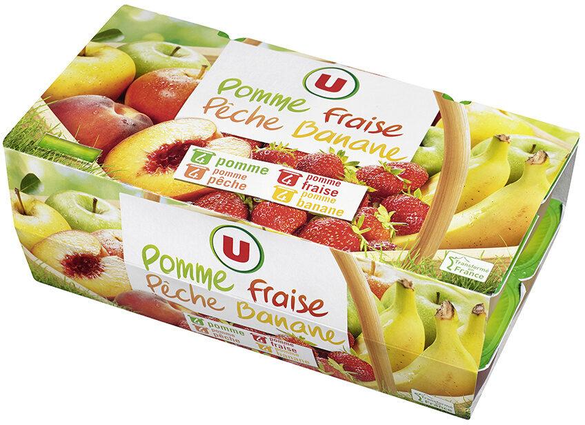 Dessert de fruits pomme-banane pomme-pêche pomme-fraise et pomme - Produit