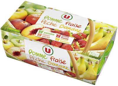 Dessert de fruits pomme-banane pomme-pêche pomme-fraise et pomme - Product - fr