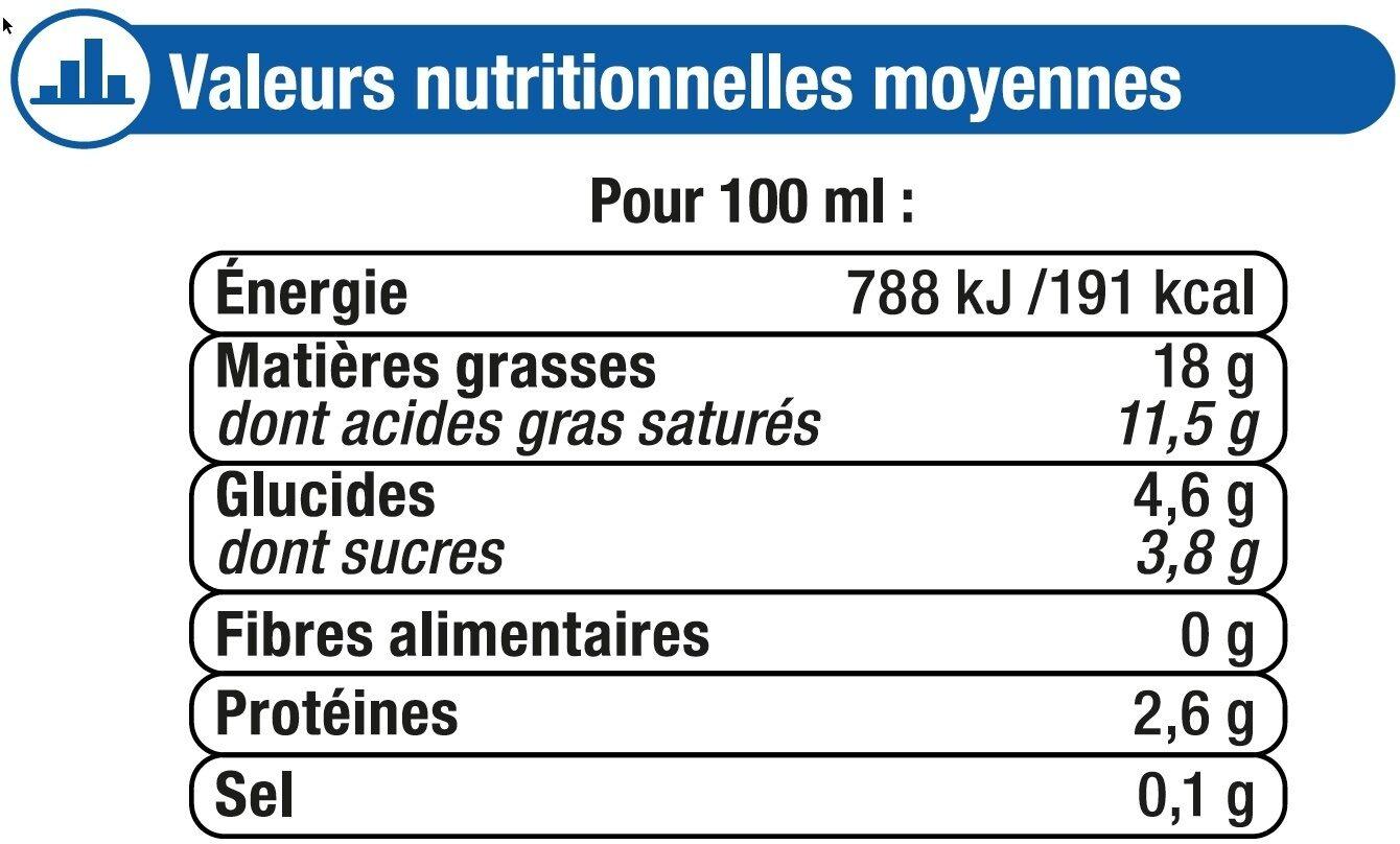 Crème UHT liquide 18% de MG - Informations nutritionnelles - fr