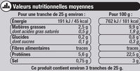 Saumon Atlantique fumé - Voedingswaarden