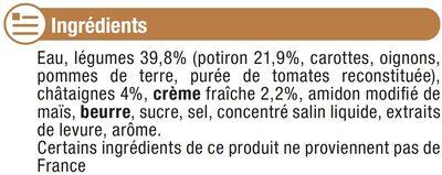 Velouté potiron châtaignes - Ingrédients - fr