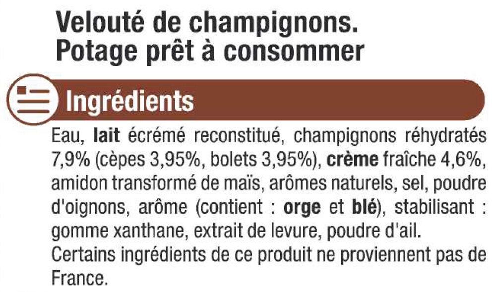 Velouté de champignons - Ingrediënten