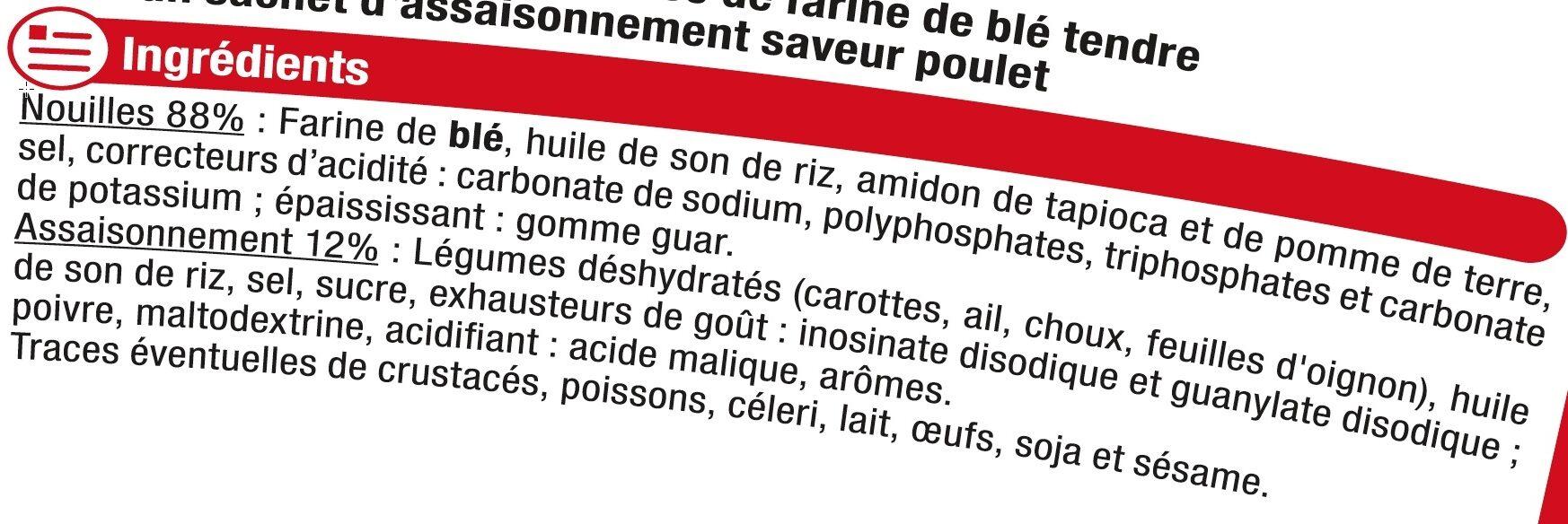 Nouilles cuisinées cup saveur poulet - Ingredients - fr