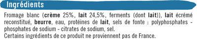 Fromage blanc fondu au lait pasteurisé 30%MG - Ingrédients - fr