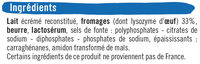 Fromage pasteurisé triangles fondants fromagers  5%mg - Ingrédients
