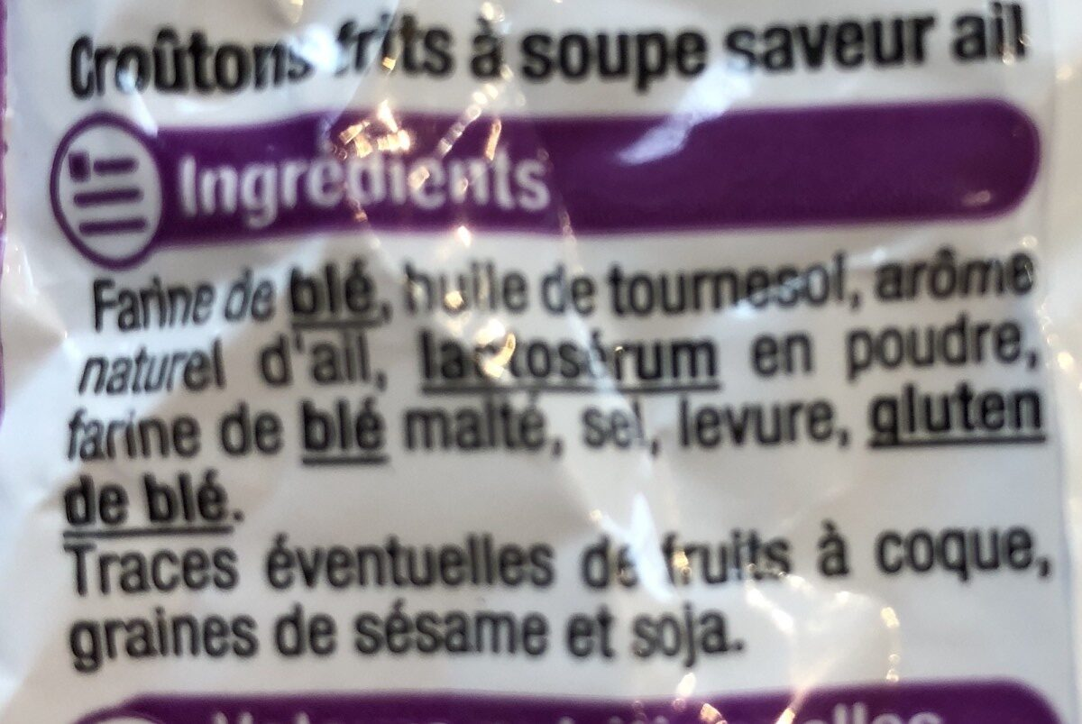 Crouton a l'ail - Ingredients - fr