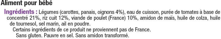 Bols tomate, riz & poulet 8 mois - Ingrédients - fr