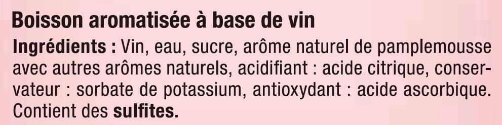 Bois.aromatisée à base de vin rosé et pamplemousse, - Ingredients