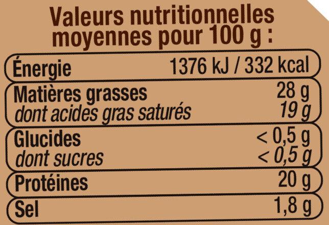 Petit Munster AOP au lait pasteurisé 27% de MG - Informations nutritionnelles - fr