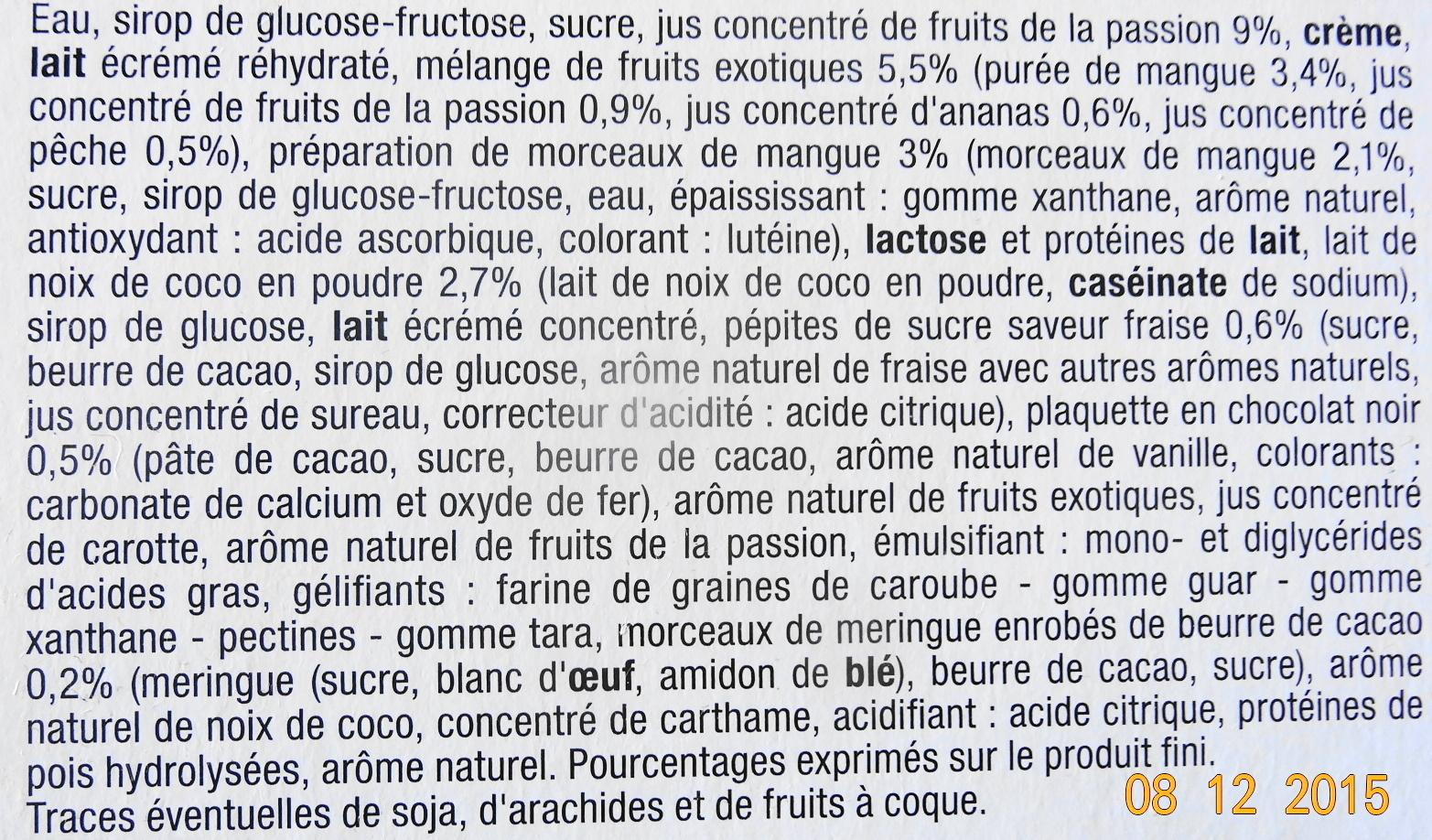 Bûche glacée parfum coco passion et fruits exotiques - Ingredients - fr