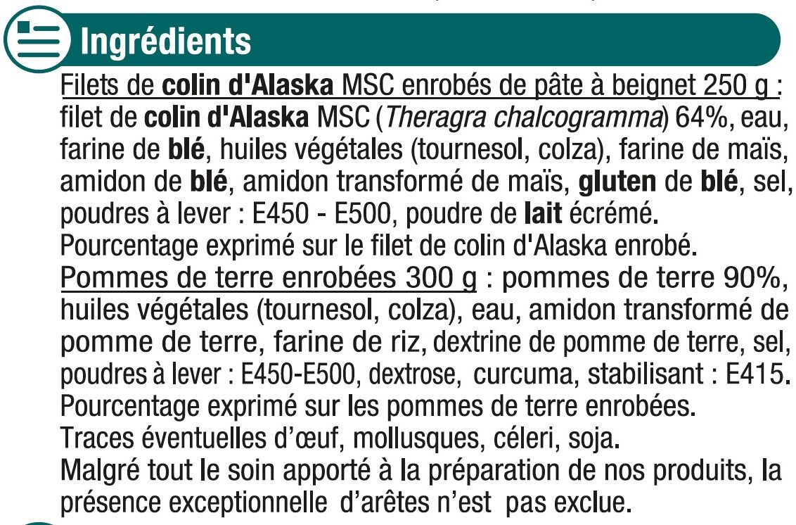 Fish and Chips - Ingrédients - fr