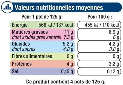 Spécialité laitière fermentée nature rêve de lait - Voedingswaarden - fr