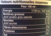 Crème fraîche épaisse (45% MG) - Voedigswaarden