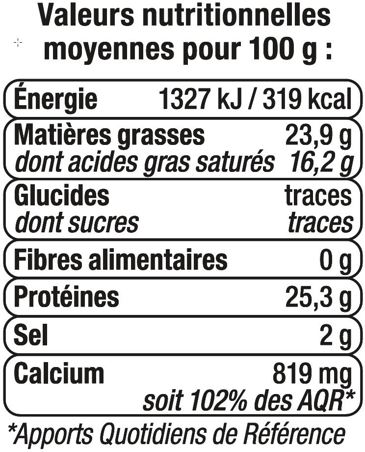 Fromage de Hollande à pâte pressée en tranches Mimolette au lait pasteurisé 24% de MG - Valori nutrizionali - fr