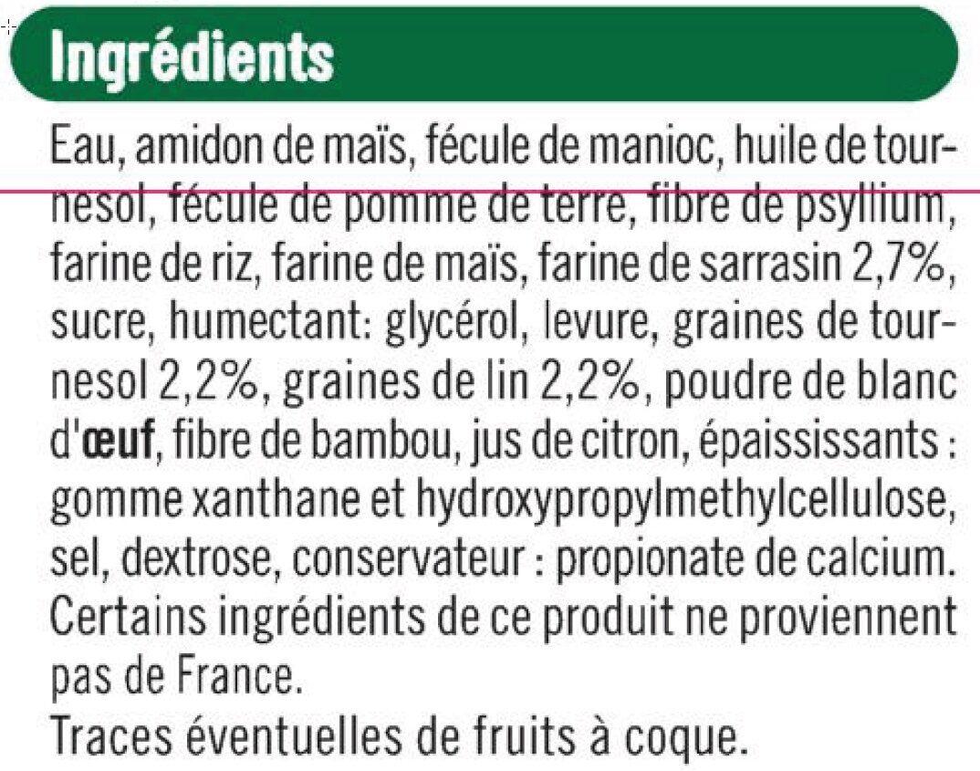Pains aux graines sans gluten - Ingrédients - fr