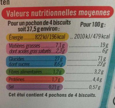 Sablés nappés chocolat noir - Nutrition facts - fr