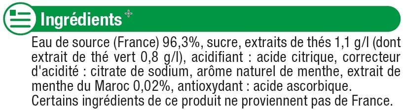 Boisson au thé thé vert menthe - Ingrédients - fr