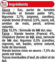 Ravioli pur boeuf 7,5% - Ingrédients - fr