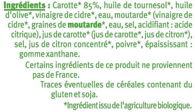 Carottes rapées en sauce - Ingrédients - fr