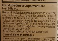 Brandade de morue transformée en France - Ingrediënten - fr