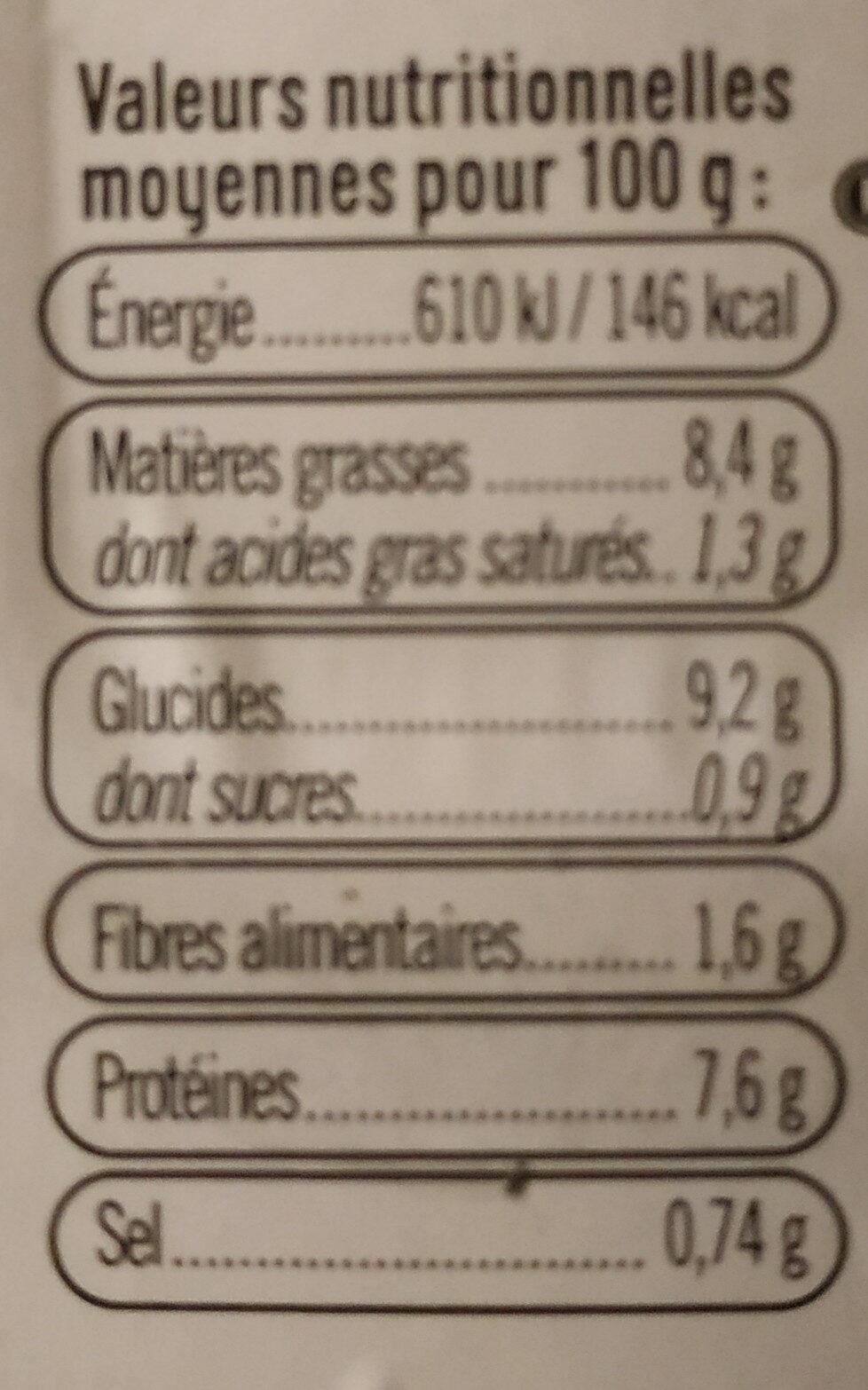 Brandade de morue transformée en France - Informations nutritionnelles - fr