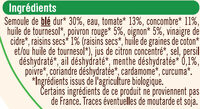 Taboulé à l'oriental bio - Ingrédients