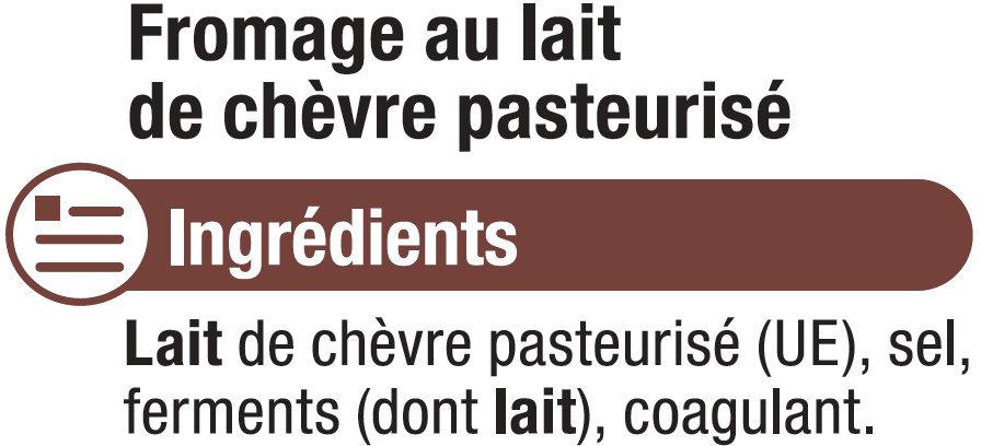 Fromage de chèvre pasteurisé bûche de caractère 25% MG - Ingrédients - fr