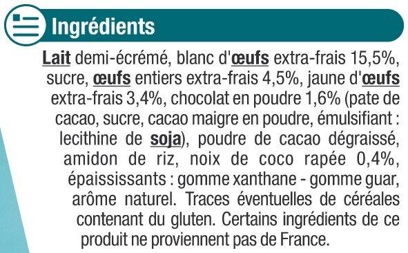 Île flottante à la noix de coco et crème au chocolat - Ingrédients - fr