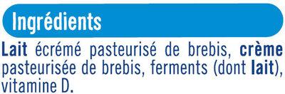 Fromage blanc au lait de brebis enrichi vit.D 5% de matière grasse - Ingrédients - fr