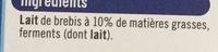 Yaourt à la grecque nature au lait de brebis (10 % MG) - Ingrédients