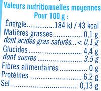 Yaourt maigre au lait de brebis nature 0% de MG - Informations nutritionnelles