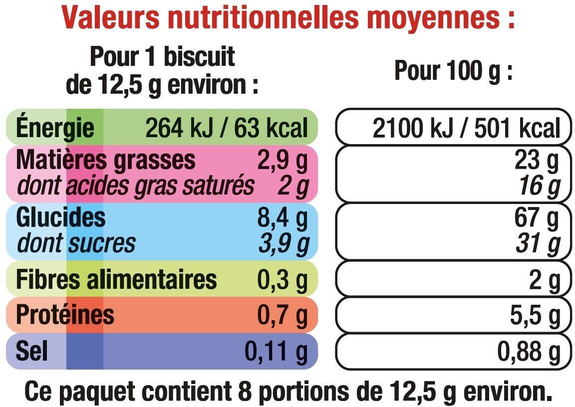Sablés pur beurre coeur de cerise - Nutrition facts - fr