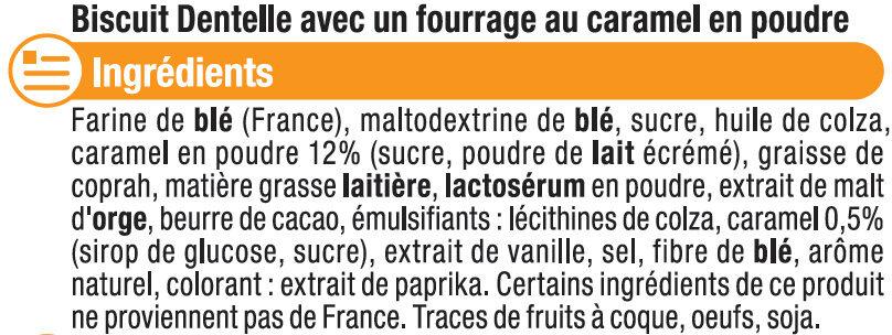 Mini crêpes dentelles coeur de caramel - Ingrédients - fr