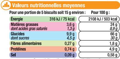 Mini crêpes dentelles coeur de caramel - Informations nutritionnelles - fr