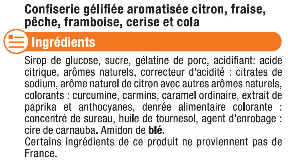 Bonbons gélifiés les rampants - Ingrédients