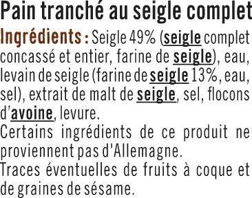 Vollkornbrot au seigle - Ingrédients - fr
