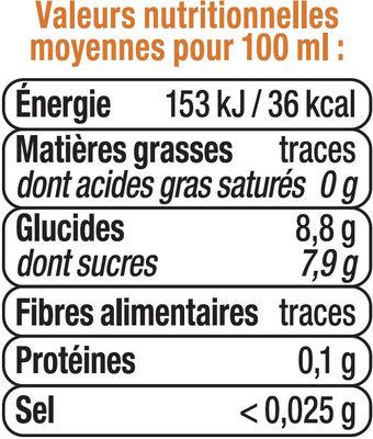 Boisson aux jus de fruits plate orange - Informations nutritionnelles - fr