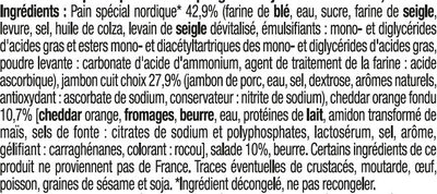 Sandwich maxi club, pain polaire, jambon cheddar, - Ingredients