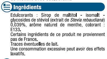 Bonbons menthe sans sucres aux extraits de stévia - Ingredients