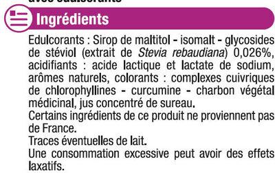 Bonbons fruits stévia sans sucre - Ingredients