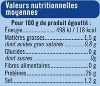 Thon entier listao naturel pêche ligne - Voedingswaarden - fr